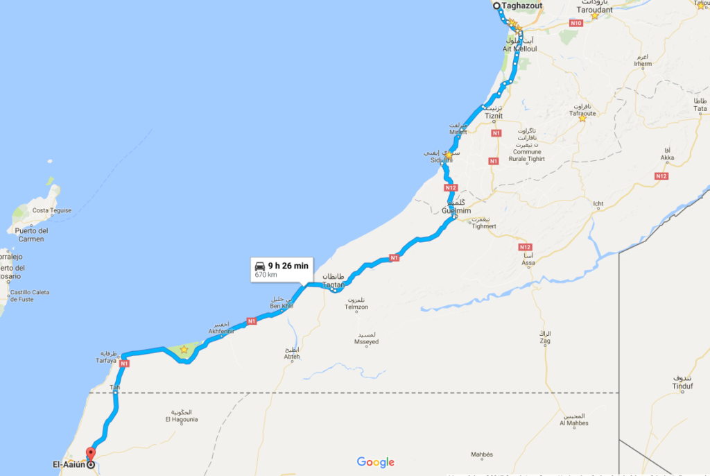 from taghazout to western sahara